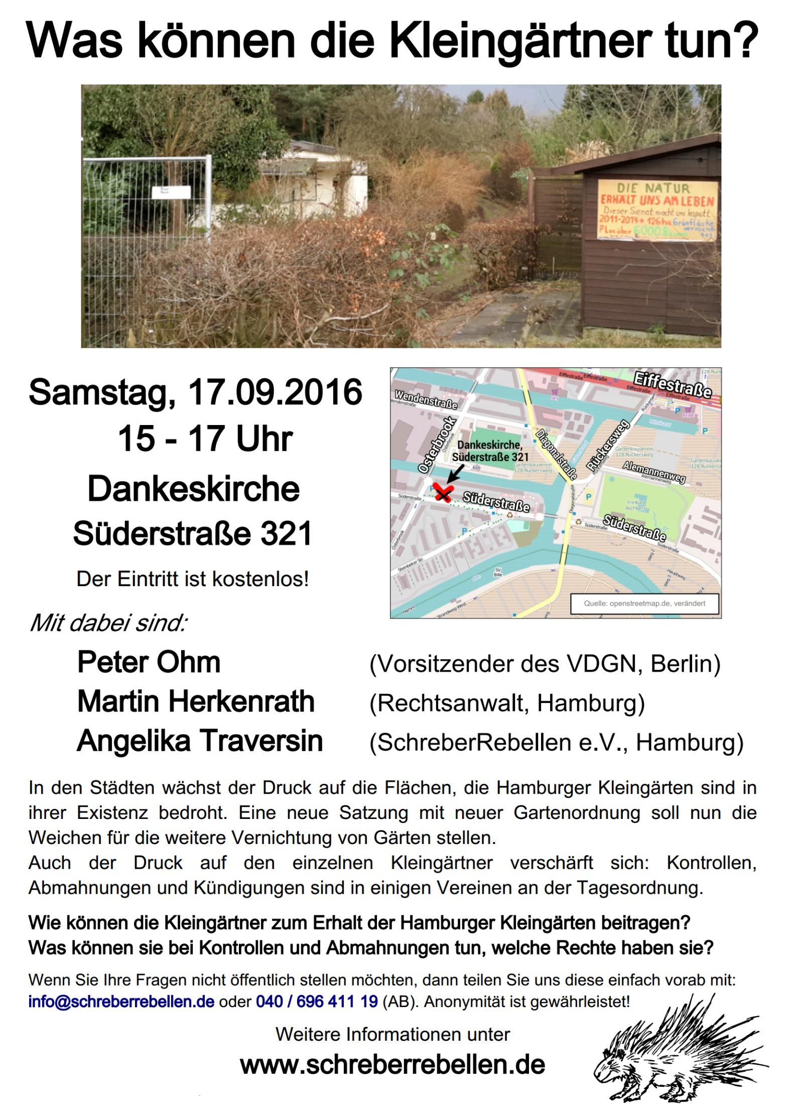 Einladung der Schreberrebellen in die Dankeskirche Süderstraße