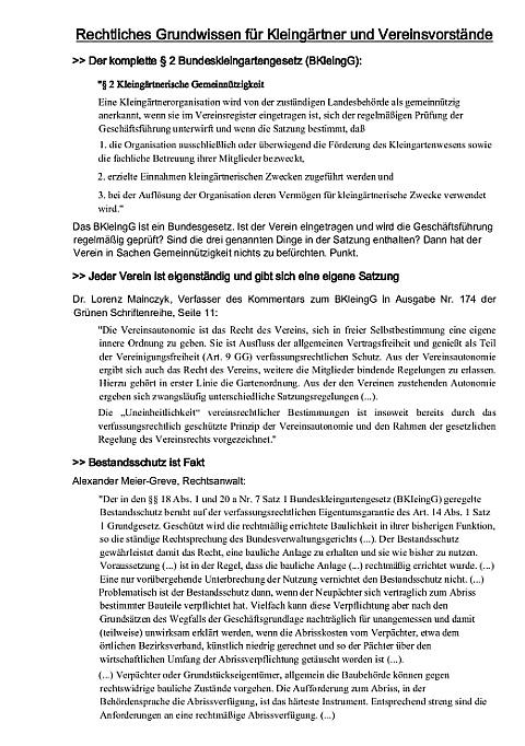 Rechtliches Grundwissen für Kleimgärtner und Vorstände von Kleingartenvereinen
