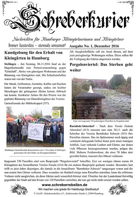 Schreberkurier Ausgabe 1 - Nachrichten für Hamburger Kleingärtnerinnen und Kleingärtner